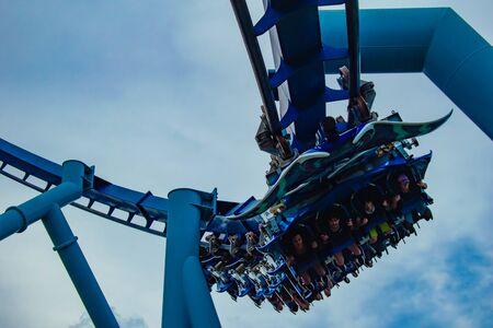 Orlando, Florida. June 23 2019. Top view of people having fun Manta Ray roller coaster at Seaworld 1