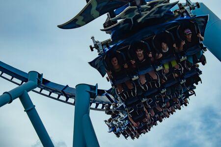 Orlando, Florida. June 23 2019. Top view of people having fun Manta Ray roller coaster at Seaworld 2