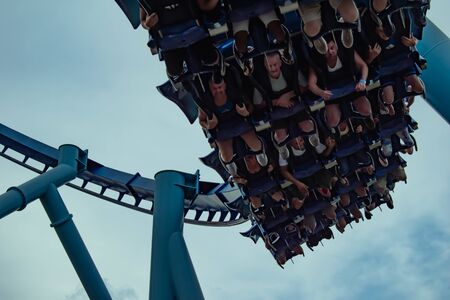 Orlando, Florida. June 23 2019. Top view of people having fun Manta Ray roller coaster at Seaworld 3