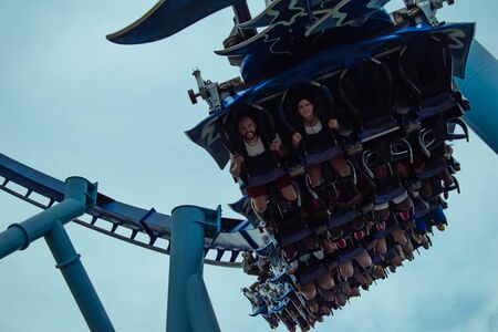 Orlando, Florida. June 23 2019. Top view of people having fun Manta Ray roller coaster at Seaworld 10