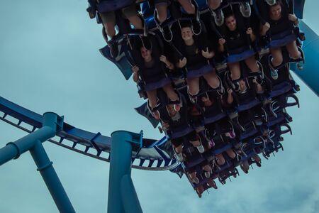 Orlando, Florida. June 23 2019. Top view of people having fun Manta Ray roller coaster at Seaworld 11