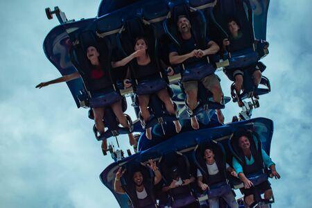 Orlando, Florida. June 25 2019. People enjoying amazing Manta Ray roller coaster at Seaworld 2 Редакционное