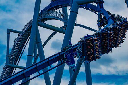 Orlando, Florida. June 25 2019. People enjoying amazing Manta Ray roller coaster at Seaworld 4