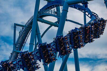 Orlando, Florida. June 25 2019. People enjoying amazing Manta Ray roller coaster at Seaworld 6