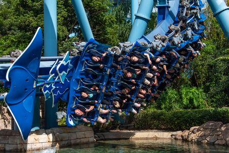 Orlando, Florida. June 25 2019. People enjoying amazing Manta Ray roller coaster at Seaworld 15
