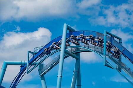 Orlando, Florida. June 25 2019. People enjoying amazing Manta Ray roller coaster at Seaworld 17 Редакционное