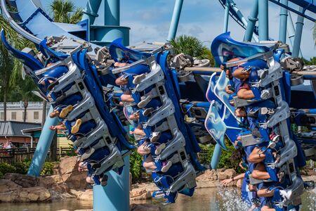 Orlando, Florida. June 25 2019. People enjoying amazing Manta Ray roller coaster at Seaworld 18 Редакционное