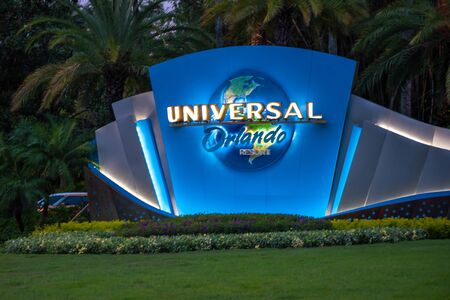 Orlando, Florida. June 13, 2019. Illuminate Universal Orlando logo at Universal Boulevard. Редакционное