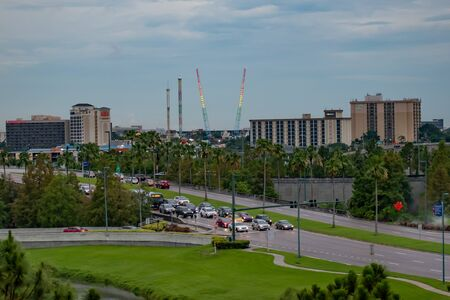 Orlando, Florida. June 13, 2019. Panoramic view of hotels and attractions at International Drive area.