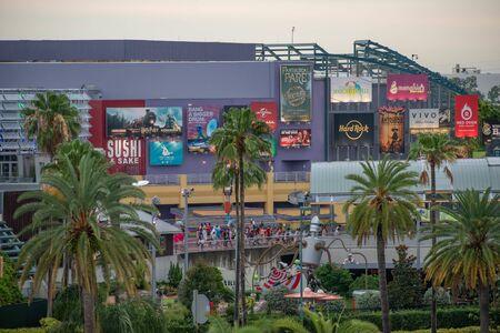 Orlando, Florida. June 13, 2019. Top view of Citywalk main entrance at Universal Studios area.