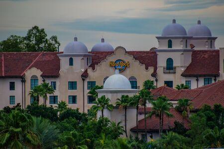 Orlando, Florida. June 13, 2019. Top view of Hard Rock Hotel at Universal Studios area.