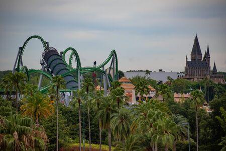 Orlando, Florida. June 13, 2019. Top view of Island of Adventure at Universal Studios area.