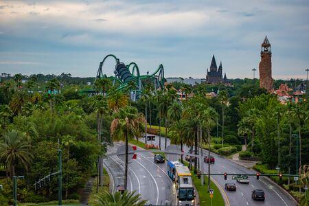 Orlando, Florida. June 13, 2019. Top view of Island of Adventure attractions at Universal Studios area.