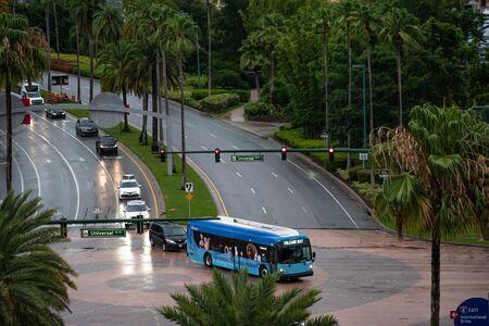 Orlando, Florida. June 13, 2019. Top view of Universal Boulevard and Hollywood Way at Universal Studios area.