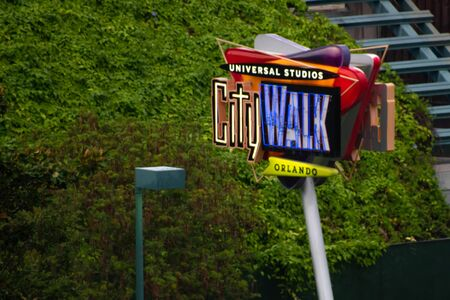 Orlando, Florida. June 13, 2019. Top view of Universal Studios CityWalk sign at Universal Studios area. Редакционное