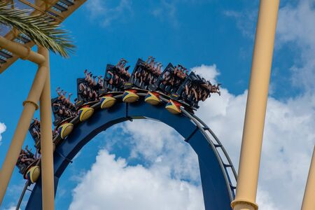 Tampa Bay, Florida. July 12, 2019. Top view of terrific Montu rollercoaster at Busch Gardens 1