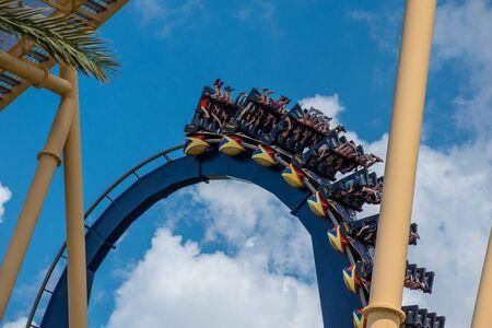 Tampa Bay, Florida. July 12, 2019. Top view of terrific Montu rollercoaster at Busch Gardens (2)