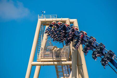 Tampa Bay, Florida. July 12, 2019. Top view of amazing Montu rollercoaster at Busch Gardens 5 Redakční