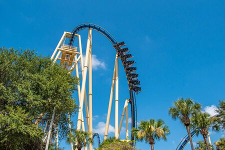 Tampa Bay, Florida. July 12, 2019. Top view of amazing Montu rollercoaster at Busch Gardens.