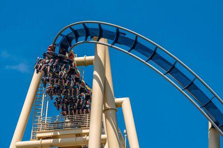 Tampa Bay, Florida. July 12, 2019. Top view of people enjoying Montu rollercoaster at Busch Gardens 3