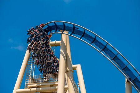 Tampa Bay, Florida. July 12, 2019. Top view of people enjoying Montu rollercoaster at Busch Gardens 4 Redakční