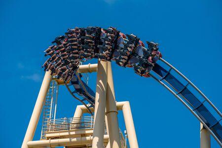 Tampa Bay, Florida. July 12, 2019. Top view of people enjoying Montu rollercoaster at Busch Gardens 6