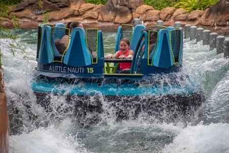 Orlando, Florida. July 13, 2019. People having fun amazin Infinity Falls at Seaworld 24 Editorial