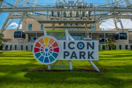 Orlando, Florida. July 05, 2019 Icon Park sign in International Drive area.