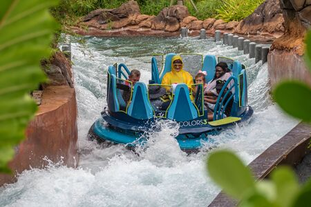 Orlando, Florida. July 13, 2019. People having fun amazin Infinity Falls at Seaworld 31