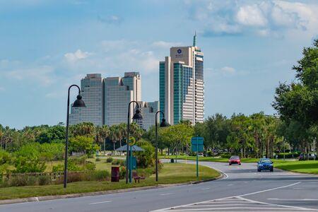 Orlando, Florida. July 05, 2019 Panoramic view of Hyatt Regency Hotel from Universal Boulervard 1