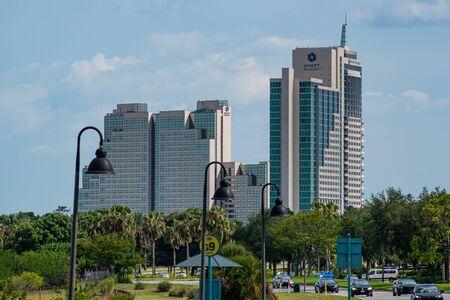 Orlando, Florida. July 05, 2019 Panoramic view of Hyatt Regency Hotel from Universal Boulervard 2