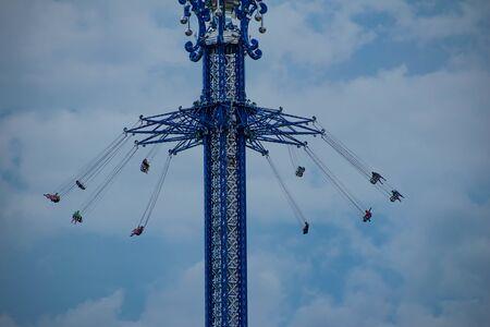 Orlando, Florida. July 05, 2019 People enjoying Sky Flyer attraction in International Drive area 1