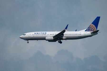 Orlando, Florida. July 09, 2019 United Airlines arriving at Orlando International Airport 1