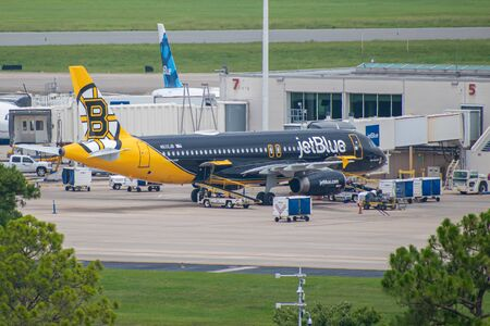 Orlando, Florida. July 09, 2019. Spirit Airlines aircraft on runway preparing for departure from Orlando International Airport MCO Editorial
