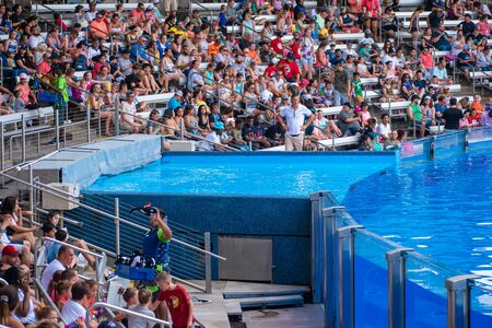 Orlando, Florida. July 18, 2019. People enjoying One Ocean show with majestic killer whales at Seaworld 1