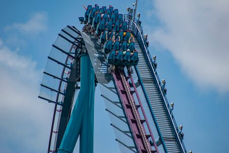 Orlando, Florida. July 18, 2019. Top view of people enjoying Mako rollercoaster at Seaworld 7 Stock Photo - 131498150