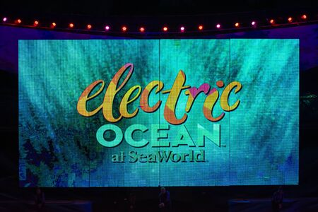 Orlando, Florida July 15, 2019. in Colorful Electric Ocean sign at Seaworld 1 Editorial