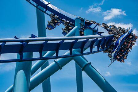 Orlando, Florida. July 18, 2019. People enjoying Mantar Ray rollercoaster at Seaworld 2 Editorial