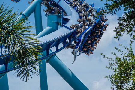 Orlando, Florida. July 18, 2019. People enjoying having fun Blanket Ray rollercoaster at Seaworld 2 Editorial