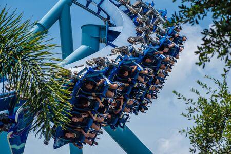 Orlando, Florida. July 18, 2019. People enjoying having fun Blanket Ray rollercoaster at Seaworld 4 Editorial