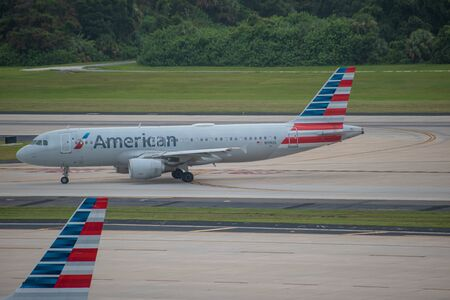 Tampa Bay, Florida. July 12, 2019. American Airlines aircraft on runway preparing to depart from Tampa International Airport 4 Editorial