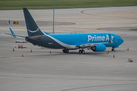 Tampa Bay, Florida. July 12, 2019. Prime Air aircraft on runway preparing for departure from Tampa International Airport. Editorial