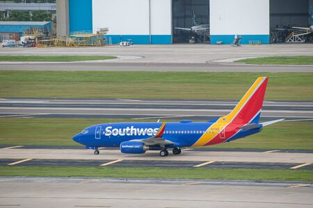 Tampa Bay, Florida. July 12, 2019. Southwest aircraft on runway preparing for departure from Tampa International Airport 3
