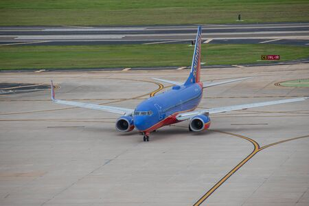 Tampa Bay, Florida. July 12, 2019. Southwest aircraft on runway preparing for departure from Tampa International Airport 6