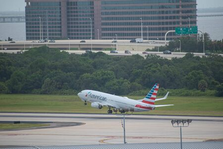 Tampa Bay, Florida. July 12, 2019. American Airlines departing from Tampa International Airport 1 Editorial