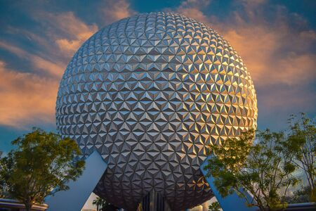 Orlando, Florida. July 11, 2019 Big Sphere on sunset background at Lake Buena Vista area 2