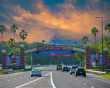 Orlando, Florida. July 11, 2019 Entrance Arch of Walt Disney Theme Parks at Lake Buena Vista area 2 Editorial