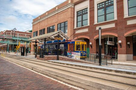 Ybor City Tampa Bay, Florida. July 12, 2019 Ybor Center Complex and colorful streetcar. Ybor City is a historic neighborhood in Tampa 2