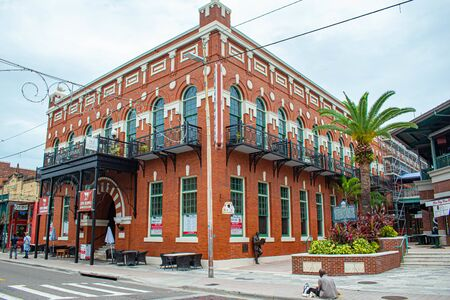 Tampa Bay, Florida. July 12, 2019. Corner view of Centro Espanol at Ybor City. Editorial