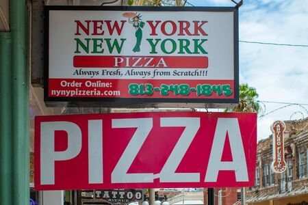 Tampa Bay, Florida. July 12, 2019 New York Pizza sign at Ybor City.